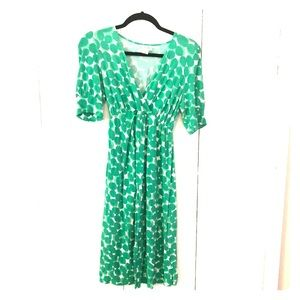 Green polka dot maternity dress